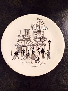 Alfred Meakin Parisienne Poodles Plates - 10 inch / 9 inch 1950 s Retro Vintage