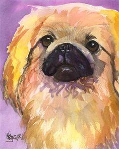 Pekingese Art Print of Original Watercolor by dogartstudio on Etsy, $24.50