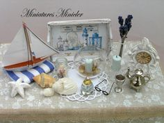 Miniature Dollhouse Seaside Decoration Set by Minicler on Etsy, $35.43