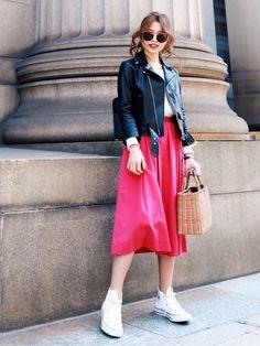 今日はとても人気で最近再入荷されたTONALの ピンクスカートを主役に❤︎ 可愛いピンクカラーでガー