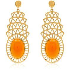 Alexandra Alberta  - Khrysler Light Orange Carnelian Earrings ($380) ❤ liked on Polyvore featuring jewelry, earrings, 18k earrings, earring jewelry, 18k jewelry, orange jewelry and 18 karat gold earrings