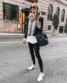 Legging Outfits, Leggings Outfit Winter, Sneaker Outfits, Leggings Fashion, Black Leather Jacket Outfit, Spanx Faux Leather Leggings, Winter Outfits, Casual Outfits, Fashion Outfits