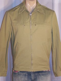 CAN'T TEAR 'EM  Men's zip front casual jacket size 102  Khaki unlined by sprocket2chain - $17.10