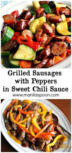 Use your left-over grilled sausages or hot dogs to make this easy and yummy sausage with peppers and sweet chili sauce. This is really so tasty! | manilaspoon.com