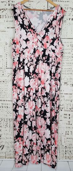 Coldwater Creek Black Coral Floral Sleeveless Empire Waist Maxi Dress Size 1X   Clothing, Shoes & Accessories, Women's Clothing, Dresses   eBay!