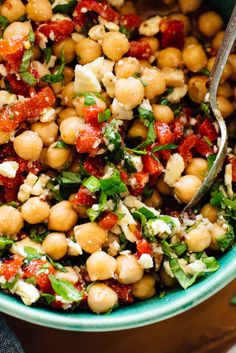 These marinated chickpeas are a little spicy, a little sweet, and totally irresistible. This recipe is a great light meal or appetizer, or you can serve it on salads or inside pitas. #chickpeasalad #vegetarianrecipe #marinatedchickpeas