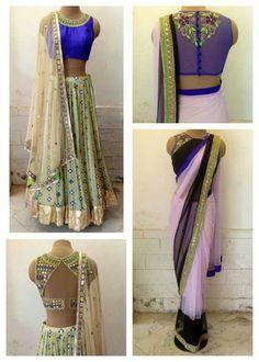 Unique blouses for sari / Saree / lengha / choli - Indian fashion - Arpita Mehta by Meenal Khanna Paruthi