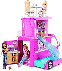 Barbie-Pop-Up-Camper-Vehicle-RV-Swimming-Pool-Slide-Fire-Pit-Picnic-Pink