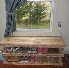 Primitive Shoe bench STRONG WOOD Rustic shoe rack table entry mudroom orgainizer Home Decor