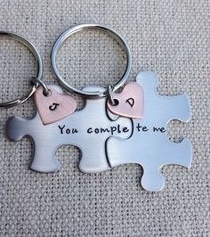 Custom puzzle piece key chains his and hers you complete me gift for him gift…