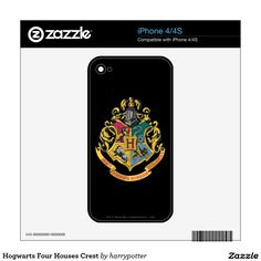 Hogwarts Four Houses Crest iPhone 4 Decal
