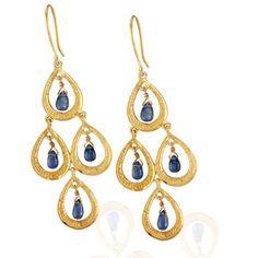 Statement jewellery from Emma Chapman Jewels Peacock Little Lapiz Earrings