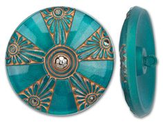 36mm Czech Glass Round Copper and Turquoise with Silver Button