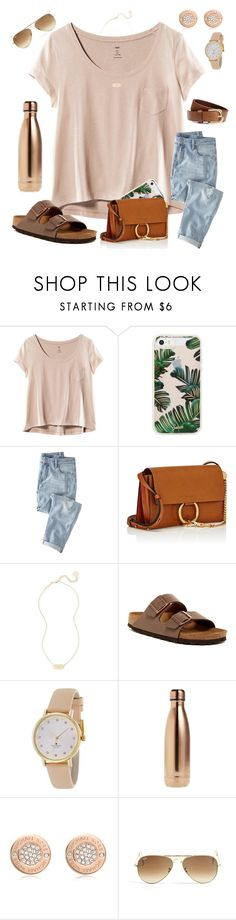 """""""rosegold"""" by ctrygrl1999 ❤ liked on Polyvore featuring H&M, Sonix, Wrap, Chloé, Kendra Scott, Birkenstock, Kate Spade, S'well, Michael Kors and Ray-Ban"""