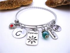 "Forever Bracelet, Forever Jewelry, Forever Keychain, Believe Bracelet, Believe Jewelry, Inspirational Words Jewelry, Faith Jewelry Comes with all the charms shown and your choice of a faceted ball birth month crystal--let me know in the Notes which birth month or color for the crystal. Comes on an adjustable stainless steel bracelet. You can open and close the bracelet and bend it to fit your wrist. Keychains will also come on a stainless steel keyring. Necklaces will come on a 24"" alumi..."