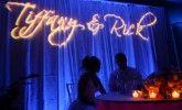 Gobo Monogram lighting behind head table of bride and groom for their wedding.