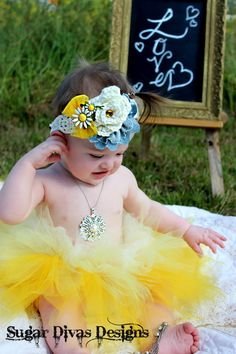 First birthday photography Daisy Mae Yellow Ombre Tutu by SugarDivasDesigns on Etsy, $25.00