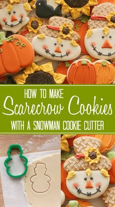 How to make scarecrow cookies with a Wilton snowman cookie cutter via Sweetsugarbelle.com