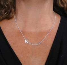 Sideways Initial Necklace  14K SOLID GOLD Your  by classicdesigns