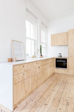 Natural wood, creates a bright clean and neutral palette for your kitchen