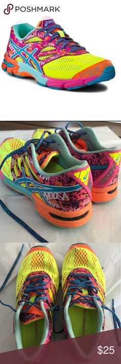 Asics Gel Noosa Tri 10 Running Shoes -Asic sneakers in bright vibrant colors -Good condition -Slight wear - Inside / tiny hole toe of right shoe, otherwise in good shape and a lot of miles left -smoke-free / pet-free home Asics Shoes Athletic Shoes