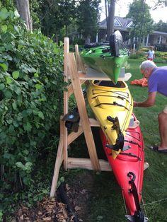 Ultimate Kayak Racks is your solution to cottage kayak storage. The free standing design allows you to move your racks to meet your storage needs. Kayak Camping, Canoe And Kayak, Kayak Fishing, Sea Kayak, Campsite, Diy Kayak Storage Rack, Boat Storage, Garage Storage, Storage Organization