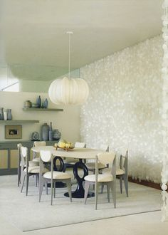 Capiz Curtain in dining room / Preciously Me blog : A Mid Century Home in Beverly Hills