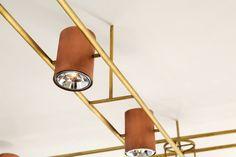 AXIS ceiling light design: eleftherios ambatzis materials: bronze & copper Ceiling Light Design, Ceiling Lights, Interior Lighting, Lighting Design, Strip Lighting, Objects, Copper, Bronze, Light Design