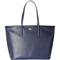 Lacoste Chantaco Medium Tote (Peacoat) Tote Handbags ($295) ❤ liked on Polyvore featuring bags, handbags, tote bags, structured handbags, tote handbags, lacoste tote bag, structured purse and structured tote