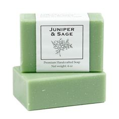 Juniper & Sage Soap - 4 oz bar by MoonDance Soaps & More. $5.00. Juniper and Sage together. Moisturizing and glycerin-rich. Vegetable oil based handcrafted soap. Enriched with shea butter and cocoa butter. Long lasting 4 oz bar, biodegradable. Our Juniper and Sage soap offers a crisp, clean scent and a thick, rich lather in a cocoa butter laden soap. The union of Juniper and Sage create a nicely refreshing alternative to mint.  Juniper offers that woodsy fir spruce scent from...