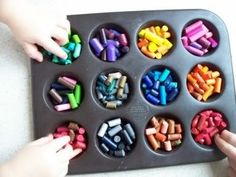 Crayon cakes- I want to do these too. I have a have a whole container full of old crayons we can use and we have the cupcake pans. We will have a fun craft for Friday and Saturday!
