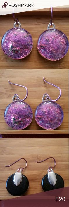 dd5578f4028c Dichroic   Niobium Earrings Detailed dichroic glass earrings with spiral  pattern. Attached by silver plated
