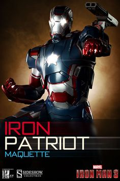 Sideshow Collectibles Iron Patriot Maquette in partnership with Legacy Effects now available for Iron Man 3 and Marvel fans!