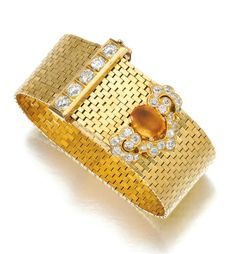 Gold, citrine and diamond bracelet, Van Cleef & Arpels, 1940s