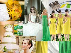 Yellow, white & green : PANTONE WEDDING Styleboard : The Dessy Group