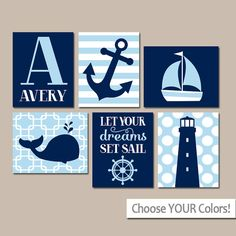BOY Nautical Wall Art Boy Nautical Nursery Baby Boy por TRMdesign