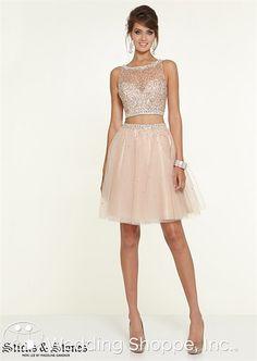 Short crop top prom dress. Sticks & Stones 9307