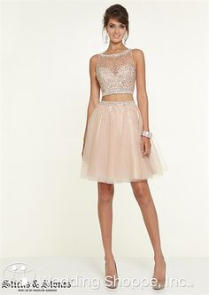 Short crop top prom dress. Sticks & Stones 9307