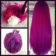 mixed red dark mix between red and purple,white mix it all together and you got a beautiful hair color i want it so bad :)