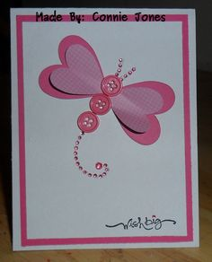 Simple butterfly card using heart punches & buttons.
