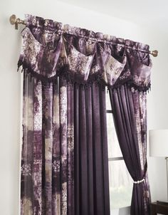The Madagascar window panel has a beautiful sheer jacquard pattern with a jeweled tasseled federal valance. #AnnasLinens #Curtains