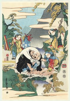 Lucky God Hotei and Children by Kuniteru I (1808 - 1876)