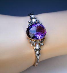 Antique 19th Century Amethyst Pearl Diamond Bangle Bracelet - Antique Jewelry   Vintage Rings   Faberge Eggs