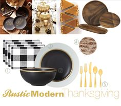 black and gold dinner flatware | Black & White Plaid Placemat } | 2 { Black & Gold Ceramic Plates ...