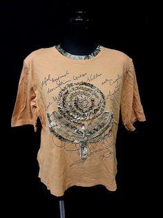 For Lady's 英字プリント デザインフリル切替 半袖 Tシャツ カットソー M/J6/橙系 【中古】