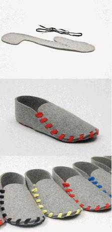 设计师Gaspard Tiné-Berès的产品Lasso鞋,由一片剪裁完好,5mm厚度的羊毛毡以及一条鞋带构成。鞋子需要顾客组装,先选好鞋带颜色,再把2D的几何羊毛毡切片通过鞋带来接缝,最后形成这双简易的拖鞋。Gaspard深信自主…