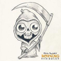 Lil' Reaper! #morningscribbles #halloween #october… | Flickr Cute Monsters Drawings, Scary Drawings, Cute Easy Drawings, Cartoon Drawings, Drawing Sketches, Drawing Ideas, Scary Monsters, Cartoon Monsters, Easy Halloween Drawings