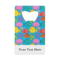 Bright Fish Underwater Pattern Personalized Credit Card Bottle Opener more nautical themed gifts at www.mouseandmarker.com.  Great personalized credit card sized bottle openers with custom name or text.  A great fish extender gift idea for your next disney cruise line vacation.