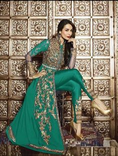 Embroidered Georgette Jacket Style Abaya Suit in Teal Green Pakistani Suits, Pakistani Dresses, Indian Dresses, Indian Outfits, Abaya Fashion, Fashion Pants, Indian Fashion, Fashion Dresses, Maxi Dresses