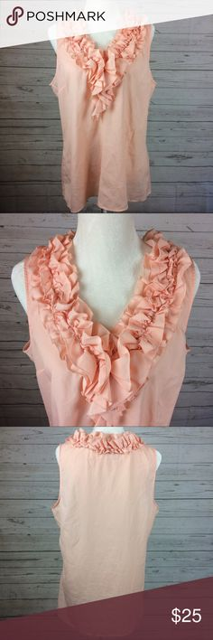 🆕 New York & Company Ruffle V-neck Top XL Light pink v-neck Blouse. Ruffle neck. Excellent condition. New York & Company Tops Blouses